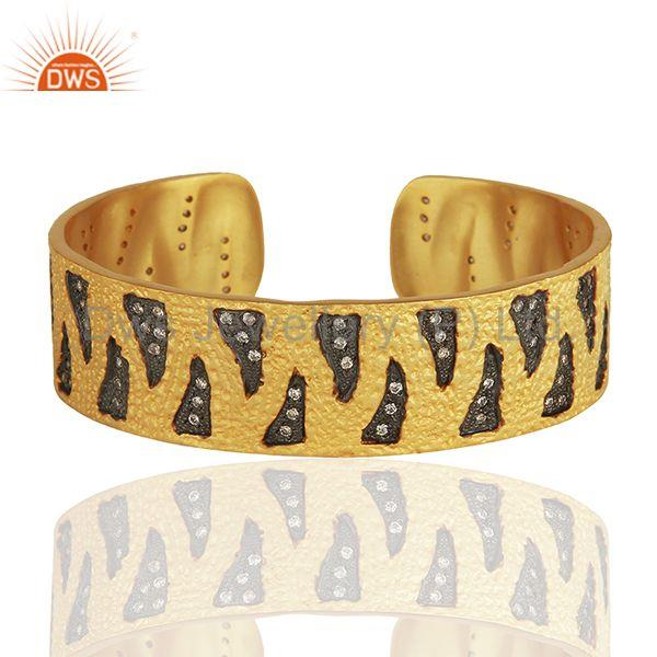 Black And Gold Plated Brass Fashion Zircon Cuff Bracelet Manufacturer