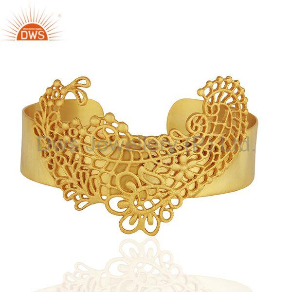 Filigree Design Brass Fashion Gold Plated Cuff Bracelet Wholesale