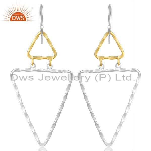 Twisted Gold And Fine Silver Triangular Dangler Earrings