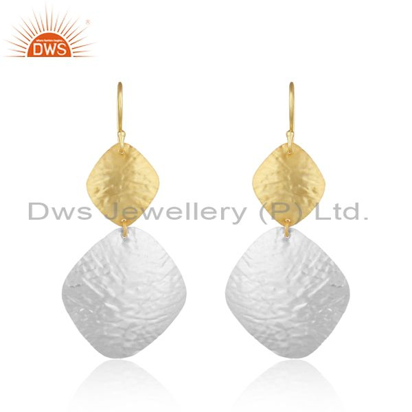 Textured Leaf Design Dualtone Yellow Gold on Silver 925 Dangle