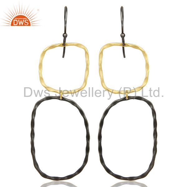 Black Oxidized 14K Gold Plated Traditional Handmade Fashion Dangle Earrings