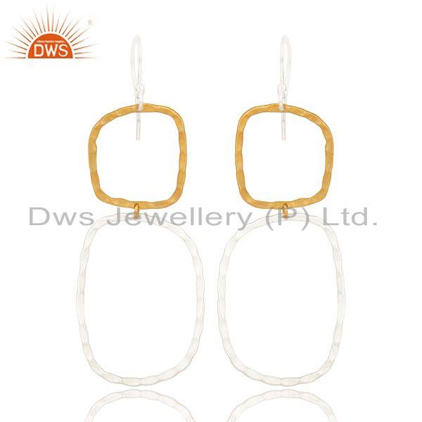 14K Yellow Gold Plated & Silver Plated Handmade Fashion Design Brass Earrings