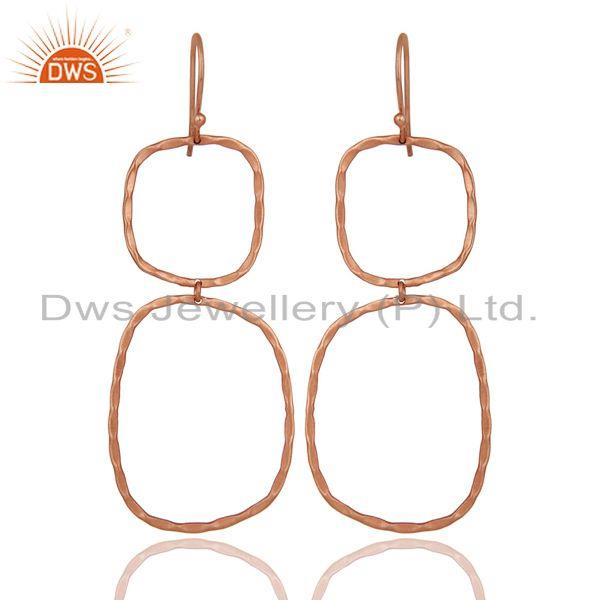 Handmade Simple Design 18k Rose Gold Plated Brass Earrings Jewellery