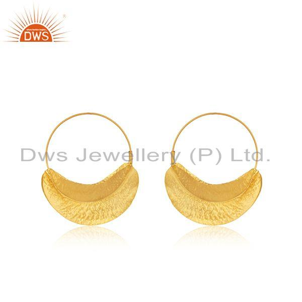 Handmade Gold Plated Textured Silver Hoop Earring Jewelry