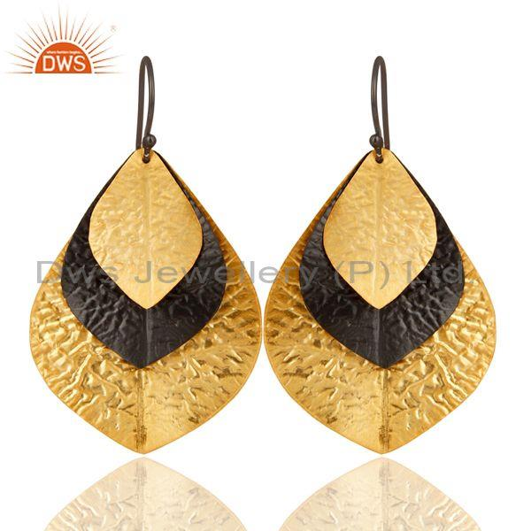 Textured Rhodium Gold Plated Plain Silver Earring Jewelry Supplier