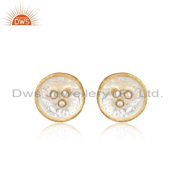 Pearls Set Gold On Fine Silver Classic Round Shape Earrings
