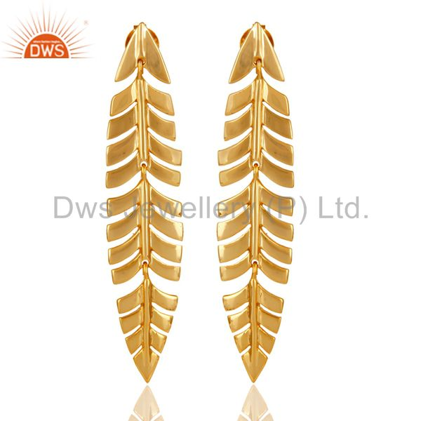 Vintage Boho Leaf Style 18k Yellow Gold Plated Sterling Silver Dangle Earrings
