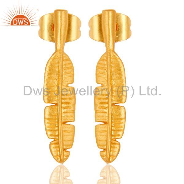 Leaf Design Gold Plated Handmade Brass Fashion Earrings Manufacturer
