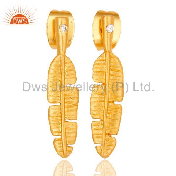 Traditional Handmade Banana Leaf Design Brass Earrings with 18k Gold Plated