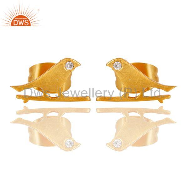 Handmade White Zircon Bird Design 18k Gold Plated Brass Stud Earrings Jewellery