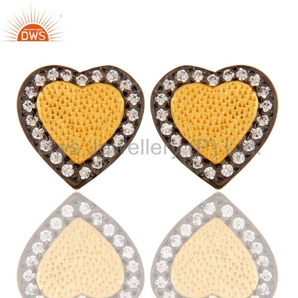 18k Gold Plated Unique Heart Shape Design Brass Stud Earrings with White Zircon