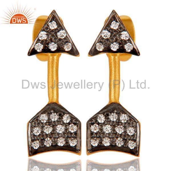 Handmade 18k Gold Plated with White Zircon Arrow Design Brass Earrings Jewellery