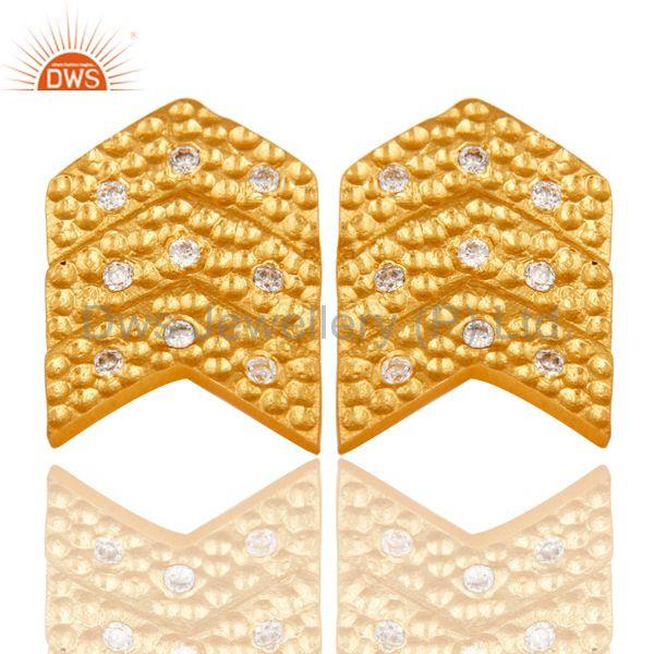 Traditional Handmade 18k Gold Plated with White Zircon Brass Earrings Jewellery