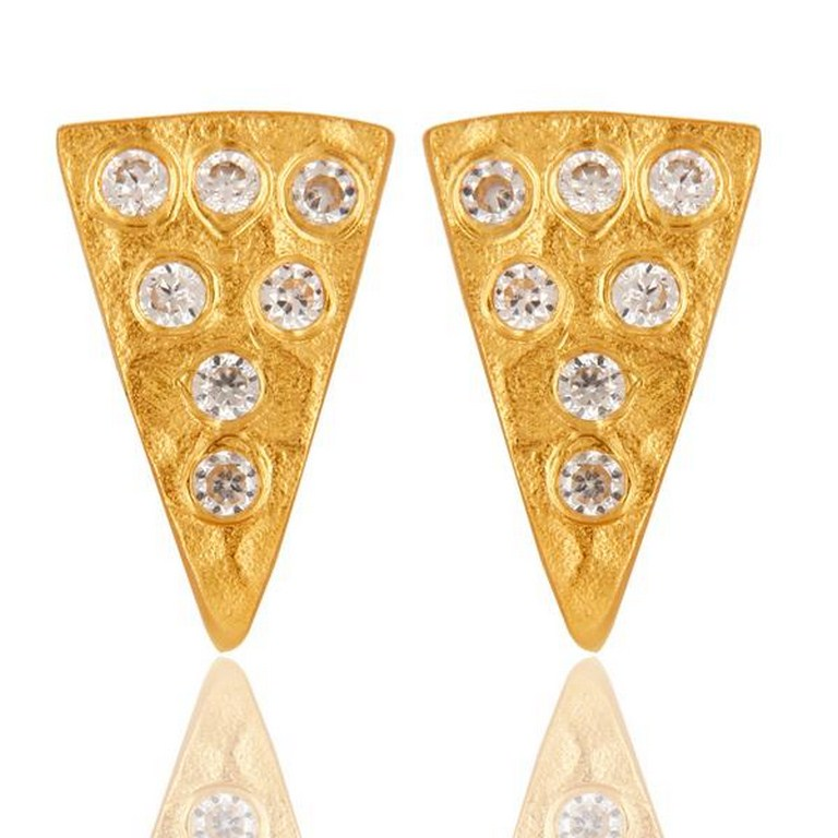 Traditional Design 18k Gold Plated with White Zircon Brass Earrings Jewellery