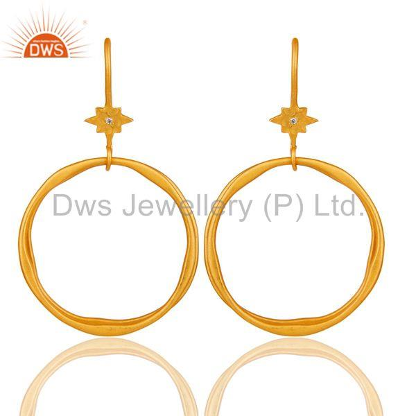 White Zircon with 18k Gold Plated Brass Round Bali Earrings Jewellery