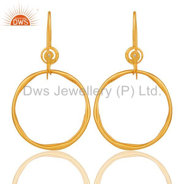 White Zircon with 18k Gold Plated Brass Round Bali Drops Earrings Jewellery