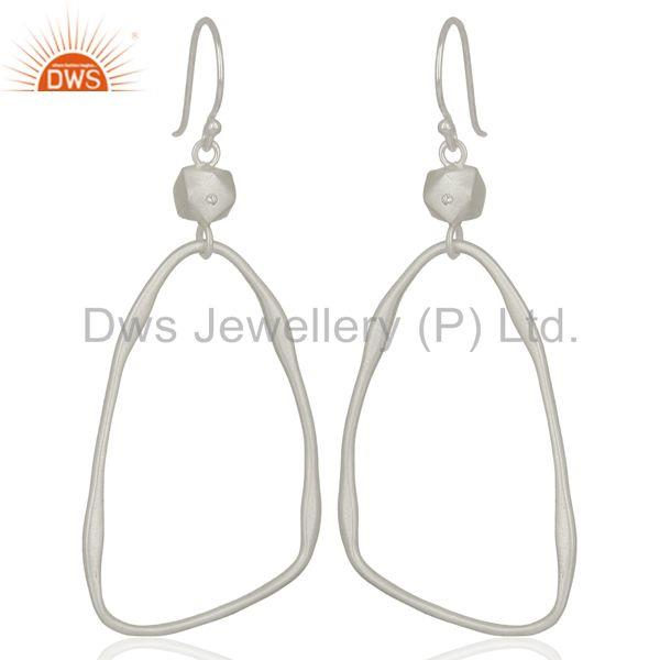 White Zircon Brass White Rhodium Plated Fashion Earrings Supplier