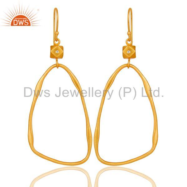 18k Yellow Gold Plated Cool Fashion Brass Earrings with White Zircon