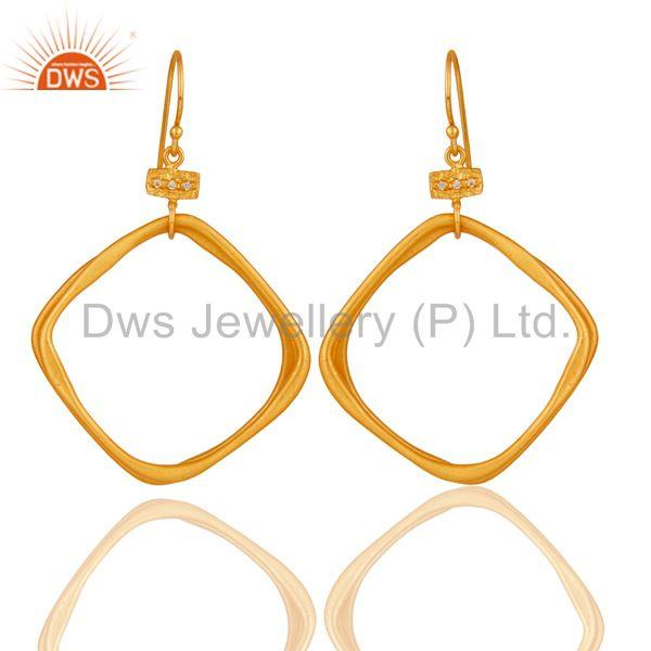 18k Gold Plated Handmade Fashion Double Hoop Brass White Zircon Earrings