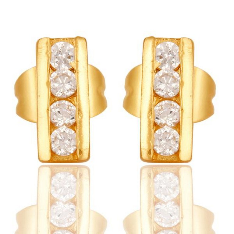 18k Gold Plated with White Zircon Designer Brass Earrings Jewellery