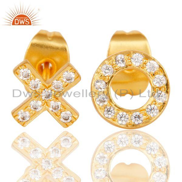 XO Xo Design Gold Plated Brass White Zircon Stud Earrings Wholesale