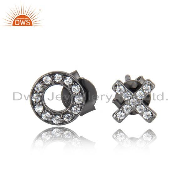 Black rhodium plated silver o and x font design cz stud earrings