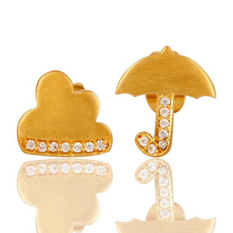 18k Gold Plated with White Zircon Umbrella Design Brass Earrings Jewellery
