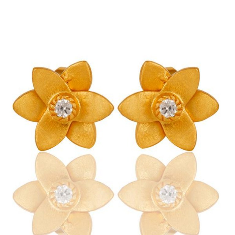 18k Gold Plated with White Zircon Flower Design Brass Earrings Jewellery