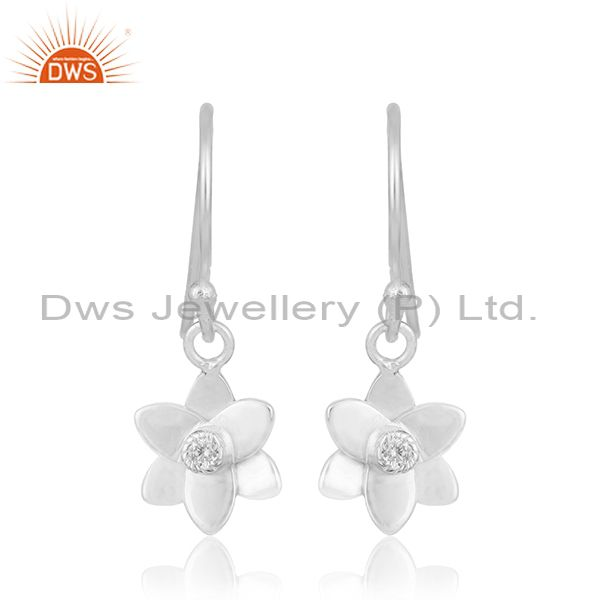 Floral Design Fine Silver Plated Brass White Zircon Drop Earring Manufacturer