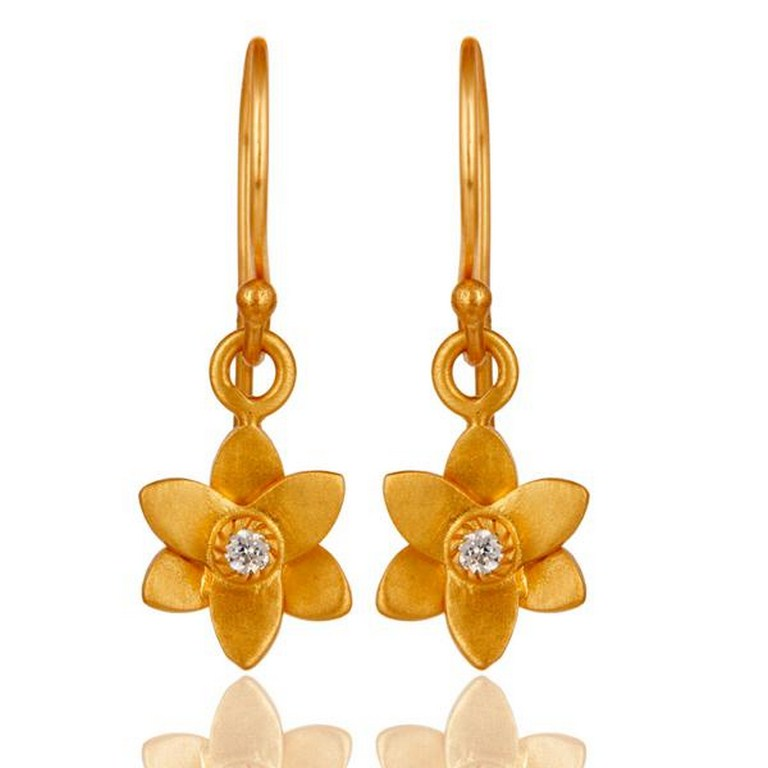 18k Gold Plated with White Zircon Flower Design Dangle Brass Earrings Jewellery