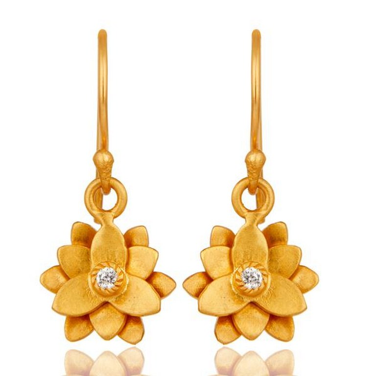 18k Gold Plated with White Zircon Flower Design Brass Dangle Earrings Jewellery