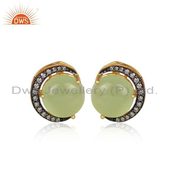 CZ And Prehnite Set Gold And Black On Brass Round Earrings
