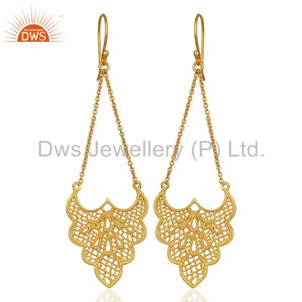 Crest shaped lace earring is 3.5cm x 2.7cm with 4 cm chain drop Gold Plated