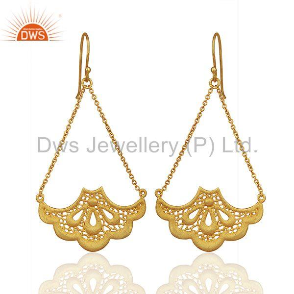 Fashion Handbag Design Traditional Brass Earrings with 18k Gold Plated