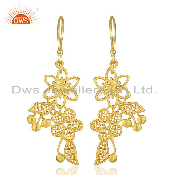Flower Carving Shape Traditional Brass Earrings with 18k Yellow Gold Plated