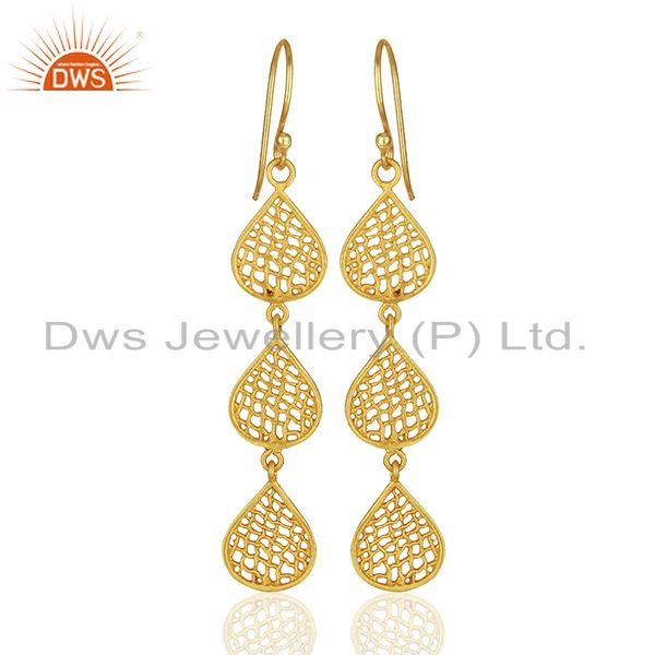 Three Lace Tear Drop Gold Plated Designer Earring