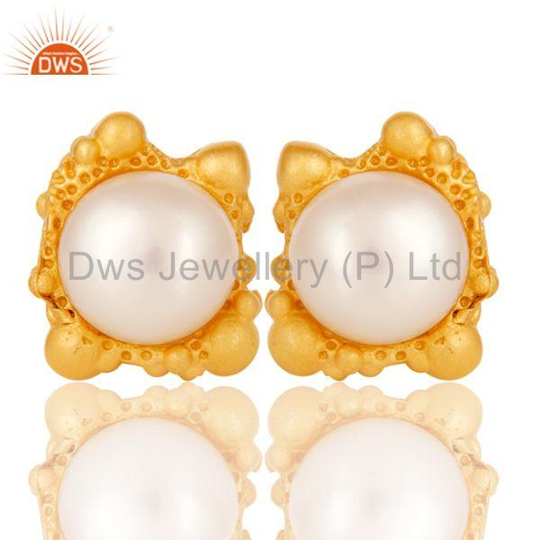 Lava Post 8 MM Pearl Studded Designer Fashion Earring