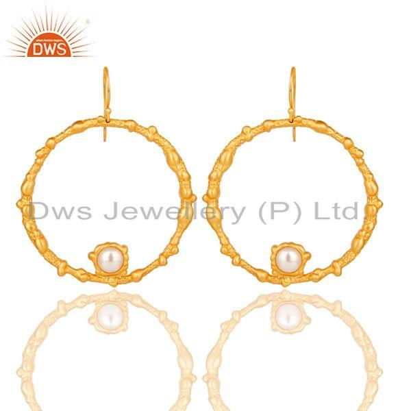 Pearl Studded Designer Lava Round Fashion Earring