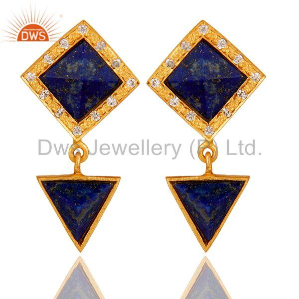Handmade Lapis & White Zircon Tip Top Design Brass Earrings with 18k Gold Plated