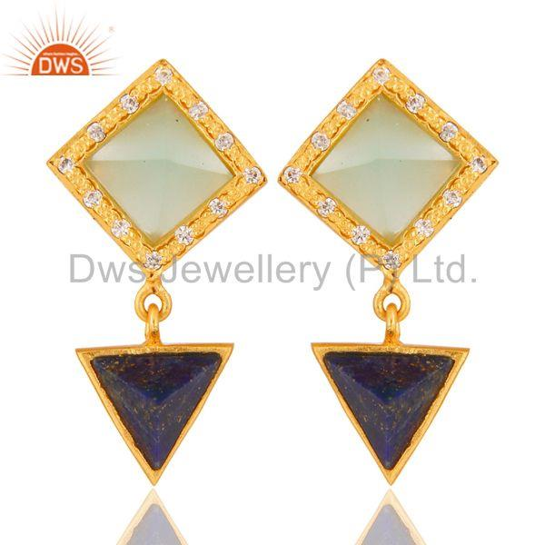 Lapis,Aqua And Cubic Zarconia Tip Top Design Fashion Earrings