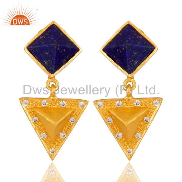 Lapis Lazuli And Cubic Zarconia Triangle Design Fashion Earrings