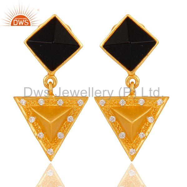 Black Onyx And Cubic Zarconia Triangle Design Fashion Earrings
