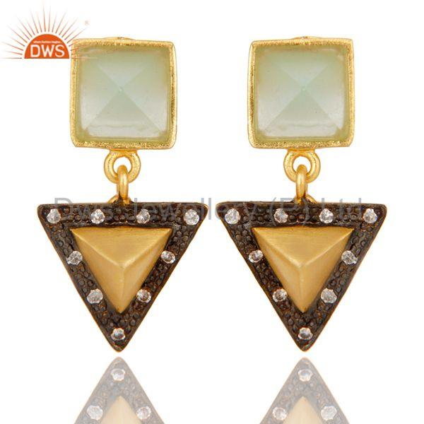 Aqua And White Zirconia Tip Top Design Fashion Wholeslae Earrings