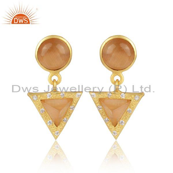 Cz and moon stone peach set brass gold statement earrings