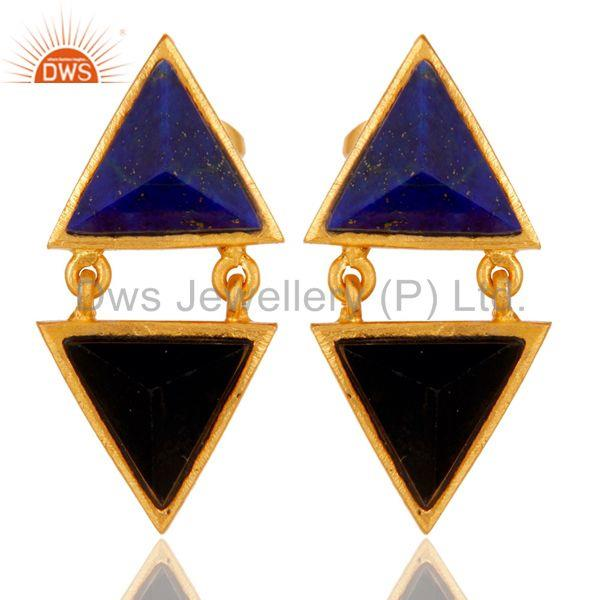 Handmade Lapis & Black Onyx Tip Top Design Brass Earrings with 18k Gold Plated