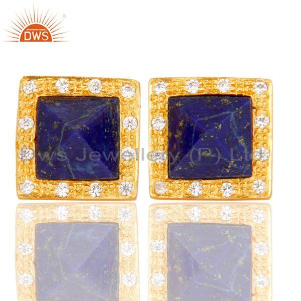 Handmade Lapis & CZ Cushion Design Brass Stud Earrings with 18k Gold Plated