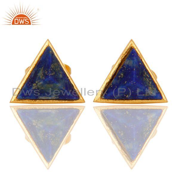 18K Yellow Gold Plated Traditional Handmade Lapis Lazuli Studs Brass Earrings