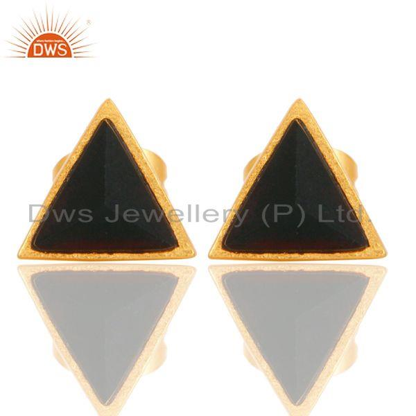 Handmade Black Onyx Design Brass Stud Earrings with 18k Gold Plated