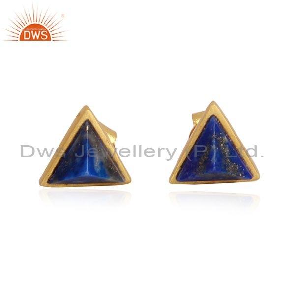 Lapis pyramid set gold on silver classic designer earrings