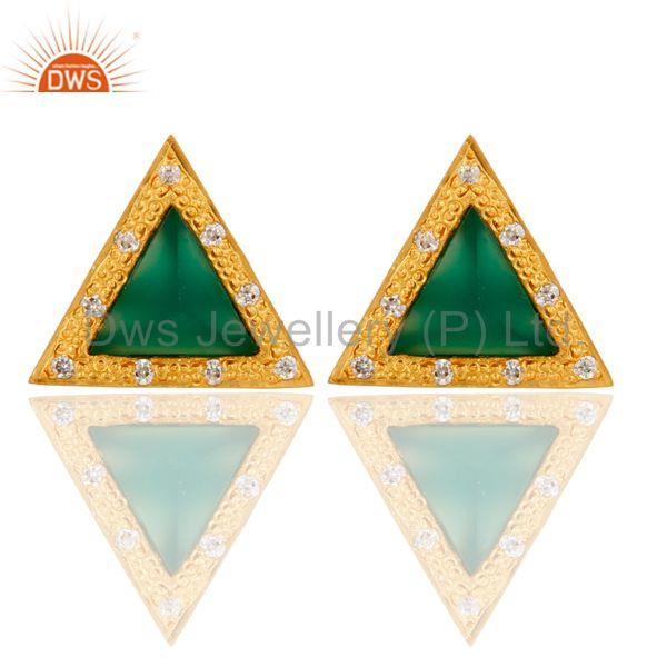 Green Onyx & Cubic Zarconia Design Brass Stud Earrings with 18k Gold Plated